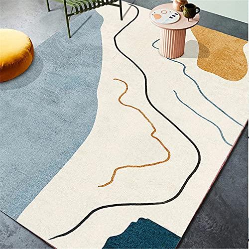 CCTYJ Beige Azul Abstracto patrón patrón Arte cómodo Antideslizante Interior Corredor de Cama decoración de Cama casa alfombra-100x160cm Alfombra económica con diseño Moderno para el salón