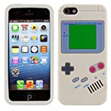 CUSTODIA IN SILICONE Fantasia gameboy per Apple iPhone 5 / 5S in Grigio - Design stiloso e protezione ottimale firmati kwmobile