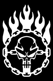 Bamfdecals Immortan Joe War Logo Chain Skull Steering Wheel Mad Max Inspired Vinyl Decal - Large - White