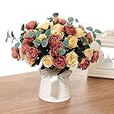 Plantas Artificiales Exterior,Flores Artificiales Exterior,Ramos de Flores Artificiales,30 flores,ramos de rosas artificiales que se pueden utilizar para la decoración del hogar, el jardín y la fiesta