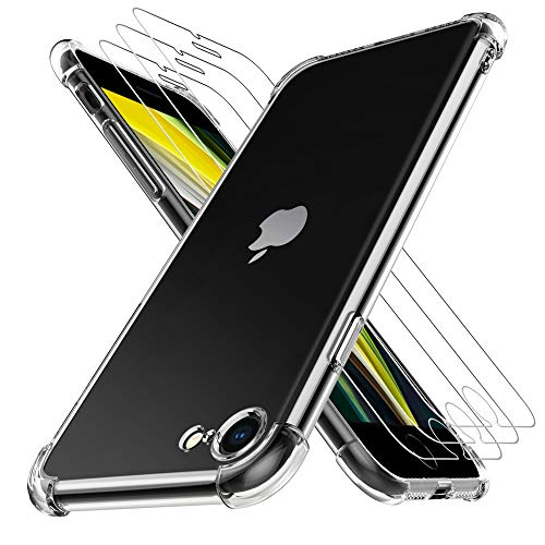 [Protezione Completa]: Luibor Cover per iPhone SE 2020 e 3 * Luibor Pellicola Protettiva per iPhone SE 2020 può fornire una protezione a 360 gradi per il tuo telefono. [Antigraffio e Design Trasparente]: Con durezza 9H, la Pellicola Protettiva per iP...