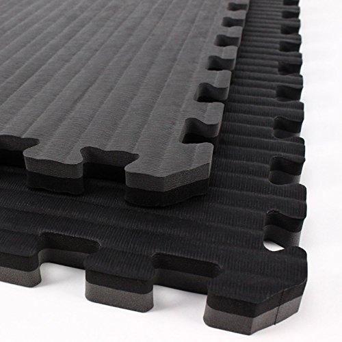 IncStores - Tatami Foam Tiles - Extra Thick mats Perfect for Martial Arts, MMA, Lightweight Home Gyms, p90x, Gymnastics, Yoga and Cardio (Black/Grey, 2 (3'x3') Tiles, 18 Sqft + Borders)