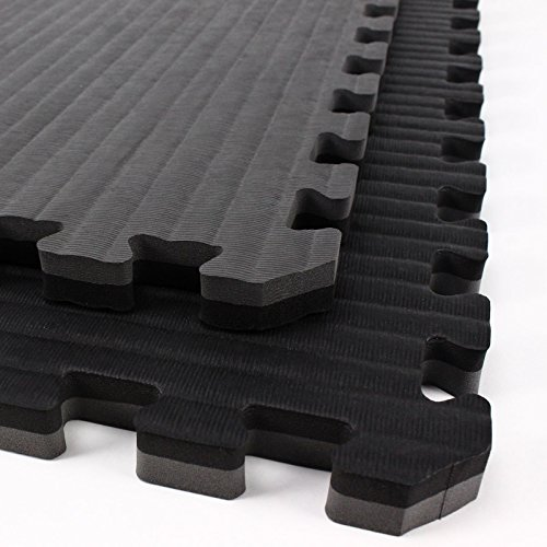 IncStores - Tatami Foam Tiles - Extra Thick mats Perfect for Martial Arts, MMA, Lightweight Home Gyms, p90x, Gymnastics, Yoga and Cardio (Black/Grey, 2 (3'x3') Tiles, 18 Sqft + Borders)