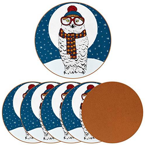 Posavasos para vasos de bebida, bufanda de invierno, sombrero con estampado de búhos polares de piel, redonda, para proteger muebles, resistente al calor, decoración de bar de cocina, juego de 6