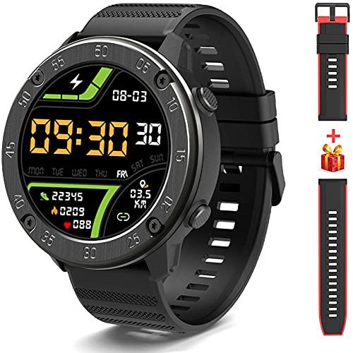 IOWODO X5 Smartwatch, Reloj Inteligent Hombre - Impermeable IP68 | Esfera de Reloj de DIY | Tiempo | Caloría | Pulsometro | Sueño | 9 Deportes, Smartwatch Hombre para Android e iOS (2 Correas)