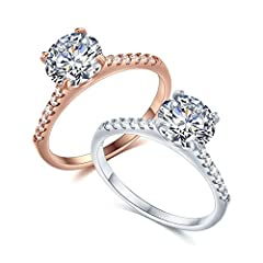 ENGAGEMENT RINGS:Engagement rings for women, this gorgeous engagement ring showcases a fiery 2 carat round-cut AAA grade cubic zirconia stone mounted in a classic 4-prong stetting, elegant and stylish. WEDDING RING:Finest quality cubic zircon stones,...