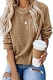 KINGFEN Ladies Kaki Soft Maternity Sweaters Solid Color Oversized Crewneck Sweatshirt Plus Size Casual Tops Boutique Clothing for Women Sherpa Fall Fleece Fluffy Sweater Khaki Medium