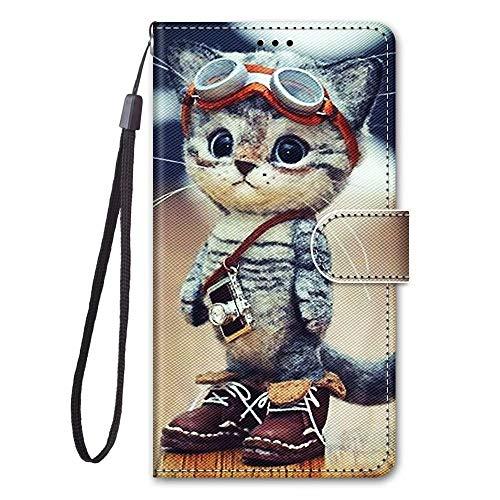 Miagon Full Body Flip PU Leder Schutzhülle für Samsung Galaxy S7,Bunt Muster Hülle Brieftasche Case Cover Ständer mit Kartenfächer,Glas Katze