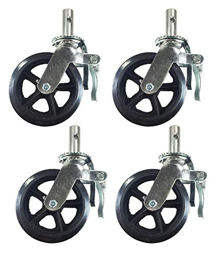 """A Set of 4 Wheel 8"""" Caster with Rubber on Cast Iron Hub 1 3/8"""" Caster Wheel with Lock-in Brakes Scaffolding Rolling Tower"""
