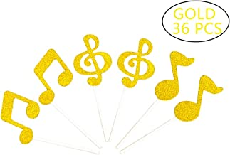 Tim&Lin Glitter Gold Music Note Party Cupcake Toppers Decorations, Party Dessert Toppers Decorations - Party Decoration Supplies, Great for Wedding, Birthday, or Any Parties Events, Pack of 36