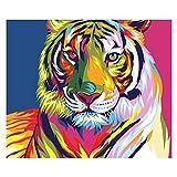 5D Diamante Taladro Pintura Animal Tiger Apellido por número de los Kits DIY Rhinestone pegados Sistema de la Pintura for la decoración del Arte Artes 12x16 Pulgadas ZSH 9-25 (Size : Round Drill)