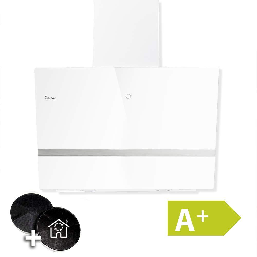 Campana extractora de pared (90cm, acero inoxidable, cristal blanco, extra silencioso, 9 pasos, iluminación LED, botones de sensor TouchSelect, apagado automático) EASY909W - KKT KOLBE: Amazon.es: Hogar