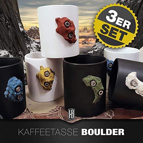 3er Set Kaffeetasse matt schwarz oder weiß mit Boulderstein Klettergriff aus dem Klettersport für den Kletter- und Outdoorfan