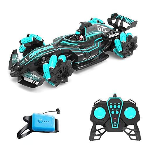 Coche de carreras teledirigido Stunt 2.4G 4WD F1 con iluminación y función de música 360 rotación, para niños, color negro [mando a distancia doble] 1:12