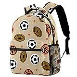 Mochila de fútbol, rugby con patrón de baloncesto, mochila de viaje, casual, para mujeres, adolescentes, niñas y niños
