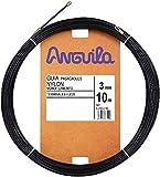 Anguila - Guía pasacables Nylon Monofilamento, 10 m, Diámetro 3mm, Terminales Fijos, Negro