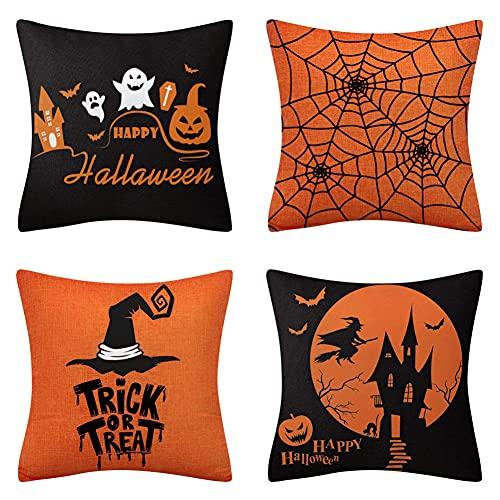 GYMS Set Mit 4 Kissenbezügen, Orangefarbenen Halloween-Kissenbezügen, Keine Einsätze, Für Schlafzimmer Wohnzimmer Sofa Couch Stuhl Auto, 45 X 45 cm (18 X 18 In)