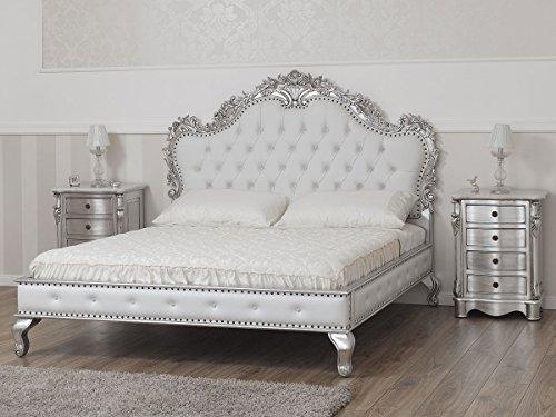 Simone Guarracino Cama matrimonial Cleopatra Estilo Barroco Moderno King Size Color Hoja Plata Eco-Piel Blanca Botones Crystal Sw