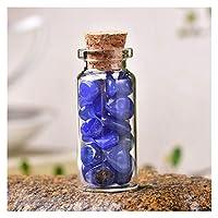 J j 1個の自然なクリスタルガラス希望ボトルの家の装飾的な癒しの石の自然洗練された石の幸運な漂流びんの誕生日プレゼント (Color : Blue Agate, Size : 60x22mm)