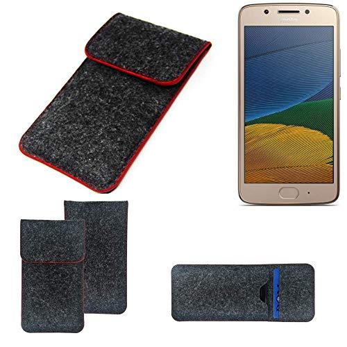 K-S-Trade Handy Schutz Hülle Für Lenovo Moto G5 Dual-SIM Schutzhülle Handyhülle Filztasche Pouch Tasche Hülle Sleeve Filzhülle Dunkelgrau Roter Rand