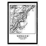 Nacnic Drucken Monaco Stadtplan nordischen Stil schwarz und