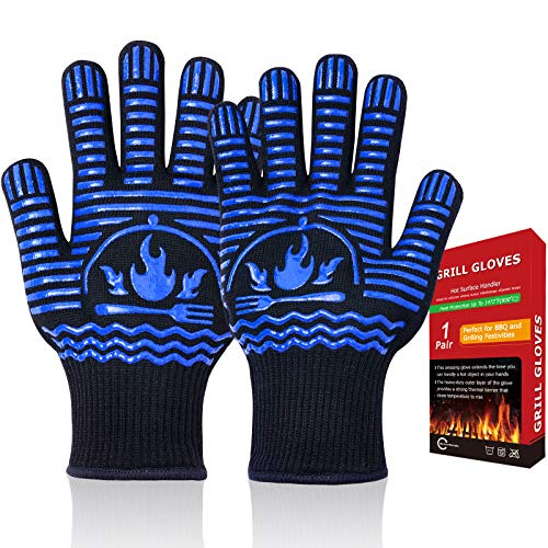 Recoty BBQ Gloves, Flexible Oven Gloves 1472°F Extreme Heat Resistant Grill Gloves, Non-Slip Food Grade Silicone Oven Mitts for Kitchen, Cooking, Barbecue, Baking, Smoker (11inch Black, Regular Cuff)