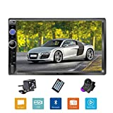 Podofo Double Din Car Stereo/Audio/Radio, 7' Touchscreen Digital LCD Monitor, MP3/USB/SD/FM, Bluetooth, Wireless Remote Control, Rear View Camera, Steering Wheel Control