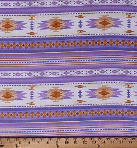 Cotton Southwestern Native American Aztec Tucson 201 Lavender Cream Stripes Southwest Patterned Cotton Fabric Print by The Yard (D471.43)