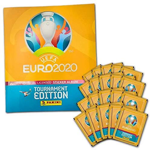 Panini UEFA Euro 2020™ Tournament Edition, 50 Stickertüten, Sammelbum, UEFA Stickerkollektion, Starter-Bundle