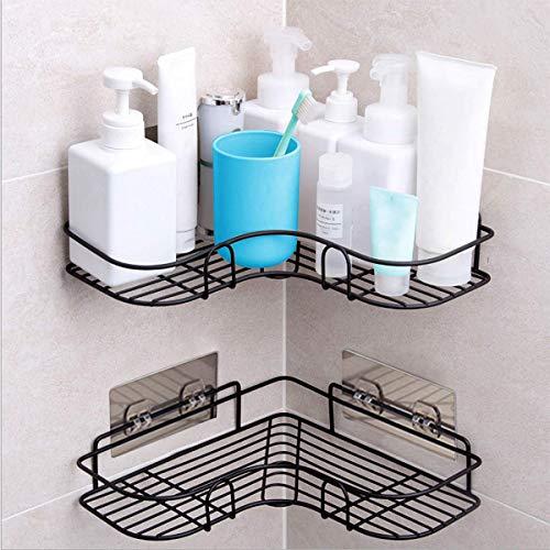 Estantes de Ducha de Esquina, Organizador de Carrito de Ducha Montado en la Pared, Estantes de Baño con Adhesivo Adhesivo para Accesorios de Cocina y Baño, Paquete de 2, Color Negro