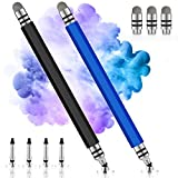 Stylus Pens for Touch Screens, UROPHYLLA Precision Stylus Fine Point Stylus, Stylus Pens for iPad, iPhone, Tablet, Laptops, Android and Other Touch Screens with 4 Discs and 3 Fiber Tips (Black/Blue)