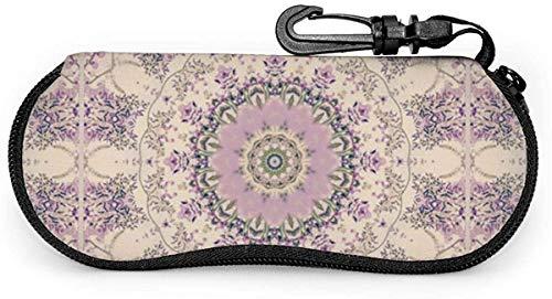 Crema y lavanda púrpura Mandala gafas de sol Estuche blando Estuche protector para anteojos con cremallera Soporte protector con clip para cinturón