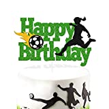 Soccer Cake Topper Happy Birthday Sign Cake Decorations for Soccer Ball Player Net Sport Football Themed Women Girl Birthday Party Supplies Green Glitter Décor Double Sided