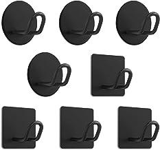 8 stuks Zelfklevende haken, Zelfklevende handdoekhaken van roestvrij staal 304 voor badkamer, keuken en woonkamer-Zwart