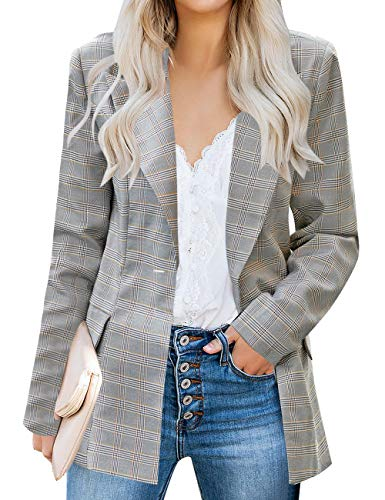 luvamia Women's Plaid Blazer Jacket Casual Notched Lapel One Button Work Office Blazer Jacket Suit A Plaid Size Small (Fits US 4-6)