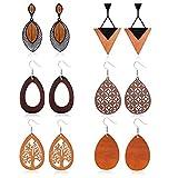 Udalyn 6Pairs Wooden Dangle Earrings for Women African Earrings Natural Wood Teardrop Earrings Ethnic Statement Lightweight Pendant Drop Earrings
