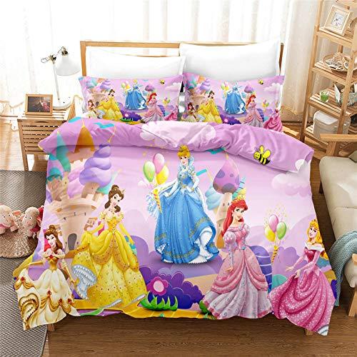 LKFFHAVD Disney Princesas Juego de ropa de cama para niñas y niños, microfibra rosa, funda de almohada de 50 x 75 cm + funda nórdica de 135 x 200 cm (220 x 260 cm, 32)