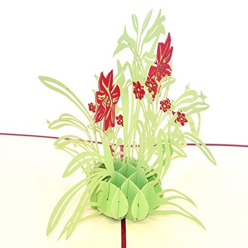 Medigy Carte d'Anniversaire Faite à Main 3D Pop Up Kirigami Creux Fleur du Narcisse Pliable Carte Postale de Voeux pour Anniversaire Mariage Saint Valentin avec Enveloppe