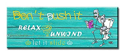 DJSYLIFE Funny Teal Sign Bathroom Decor Wall Art Woodgrain Background 1 Piece Bathroom Rules Canvas Printed Modern Home Artwork Decor 6 X 16 inch Stretched and Framed Ready to Hang
