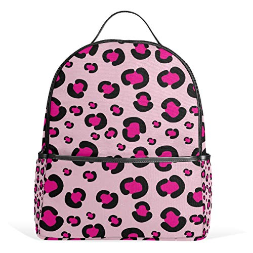 ALINLO Pink Leopard Patten School Backpacks Multi-Pocket Casual Bag Travel Daypack for Boys Girls Students