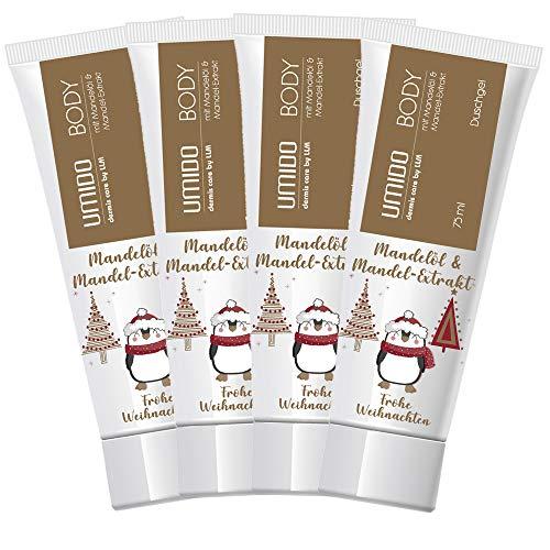 4 für 3 Aktion UMIDO Duschgel Set Weihnachten 75 ml Mandelöl & Mandel-Extrakt | 4 Stück zum Preis für 3 Stück | ohne Parabene | Waschgel | sanfte Pflegedusche | Waschlotion