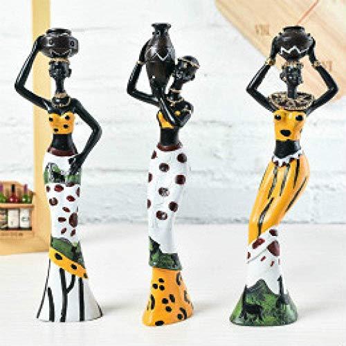 WQQLQX Statue Tierwandskulptur, Statue 3 Stücke/von Heimtextilien Teilen Filmtechnologie westafrikanischen Frauen-Statue Raum Zubehör Westafrika Tierwandskulptur gesetzt Skulpturen (Color : Style.2)