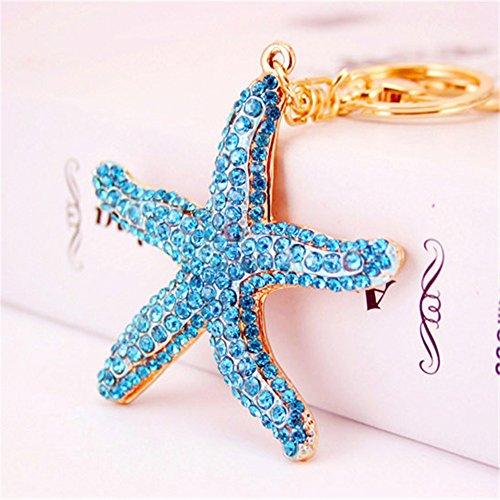 Pretty Sparkling Starfish Keychain Keyring Crystal Rhinestones Purse Pendant Handbag Charm (Blue)