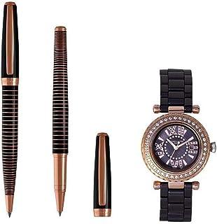 Renato Landini Men's Stylish Ceramic Watch & Pen Set [RP9042 BRM]