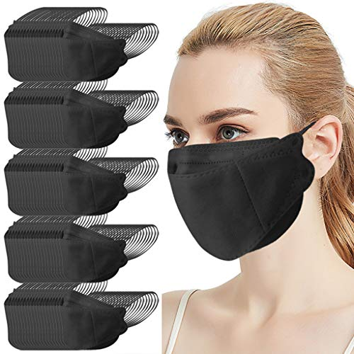 4 Ply Disposable KF94_Face_Mask Black for Adult Korea for Coronɑvịrus Protectịon Fish Type Willow-shaped Mouth Covering Non Woven Face Protection,Outdoor (100pc, Black)