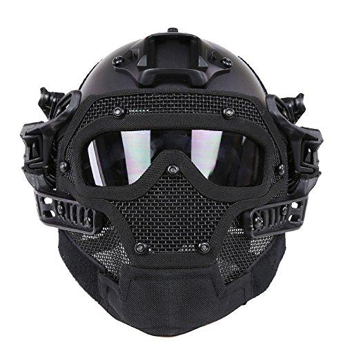 PJ Schneller taktischer Helm Airsoft Paintball Schutzhelm Vollgesichtsmaske Molle Mesh Atmungsaktive Schutzbrille Für militärische CS Paintballschießen, Jagen, Radfahren, Motorrad, Outdoor-Sport