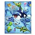 Dawhud Direct Ocean Animals Dolphin Shark Turtle Selfie Super Soft Plush Fleece Throw Blanket