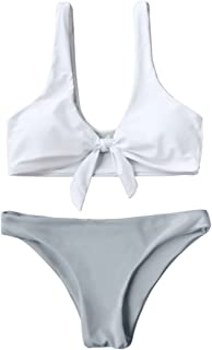 Women's 2PCS Swimsuits Knotted Bralette Bikini Top and Bottoms