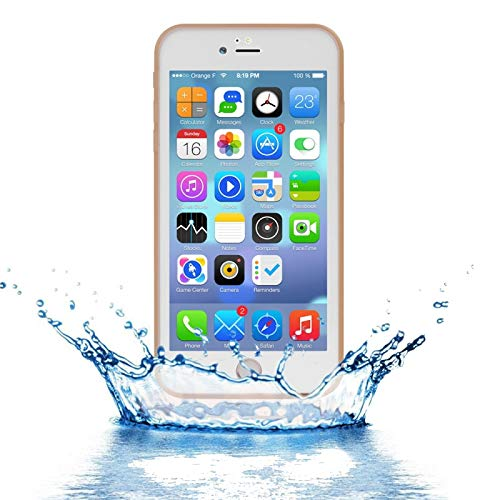 ZHANGYOUDE Funda Protectora Tridimensional de Diamante Resistente al Agua de TPU PC para iPhone 8 Plus y 7 Plus (Color : Gold)
