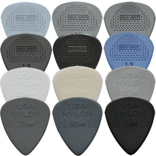 Dunlop Max Grip Standard / Nylon Standard Plektren-Set (1 Stück je Typ, in Plektrumdose von Dirty Riffs), 12 Stück